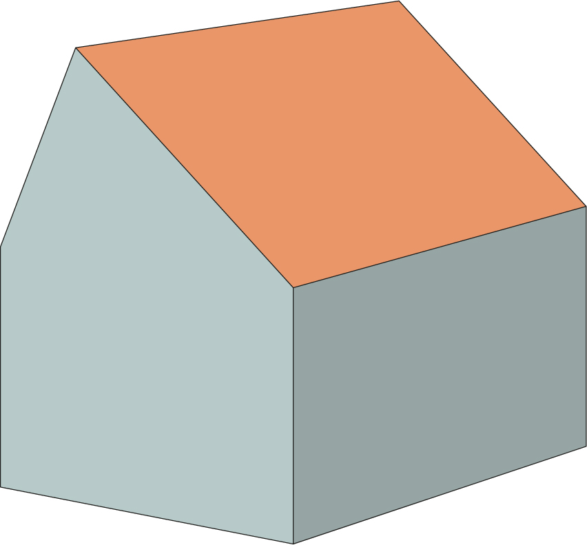 calculate content of asymetrical-gable-roof